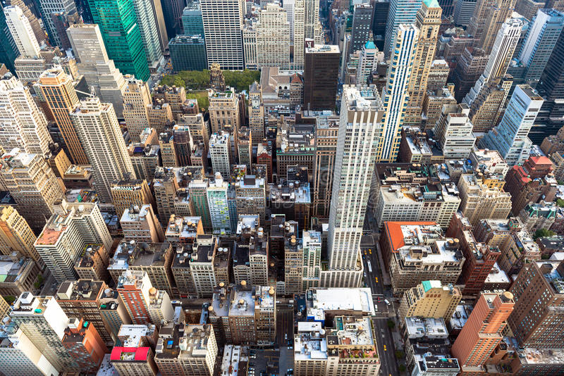 Manhattan cityscape med skyskrapor, New York City (flyg- sikt arkivfoton