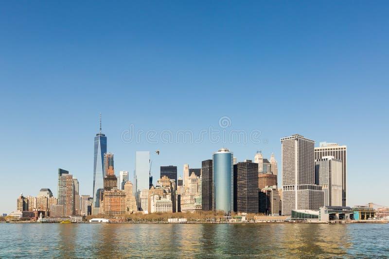 Manhattan, cityskape od Staten Island zdjęcia royalty free