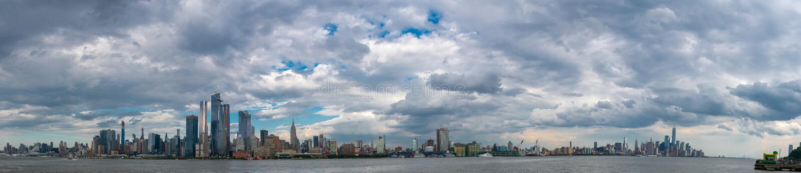 Panorama of Manhattan from New Jersey. Manhattan on a cloudy afternoon as seen from Hoboken stock photos