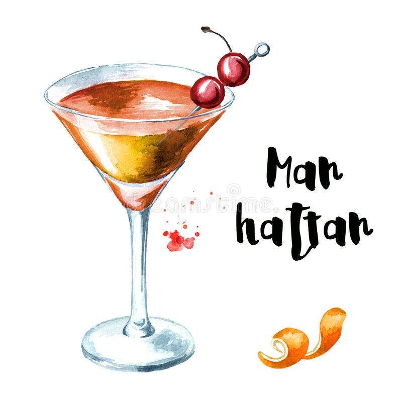 Manhattan cocktail with cherry and orange zest. Watercolor hand drawn illustration isolated on white background.  royalty free illustration