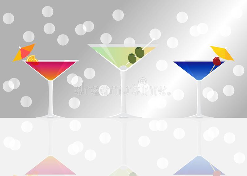 Manhattan cocktail, Dry martini and Blue lagoon on silver mirrored background with bokeh. Vector illustration for web and print, party invitation or menu vector illustration