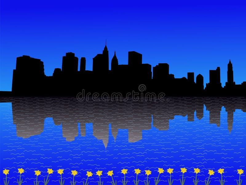 Manhattan in de lente stock illustratie