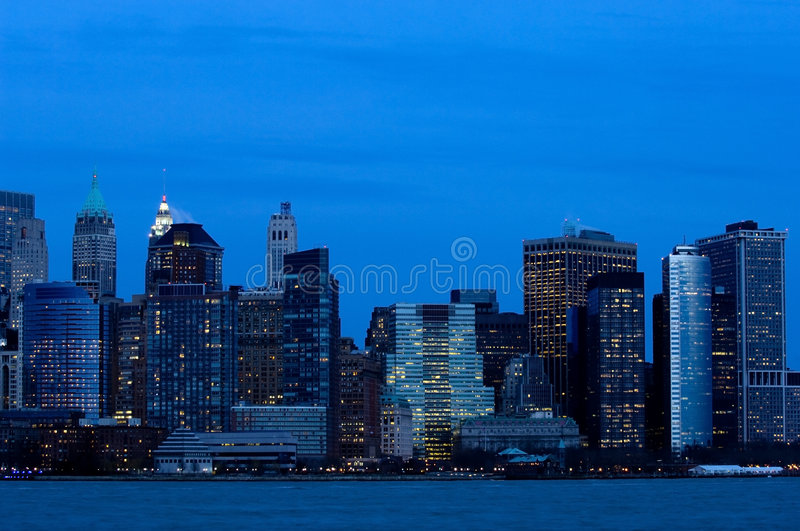 Download Manhattan downtown in blue stock image. Image of evening - 4697085