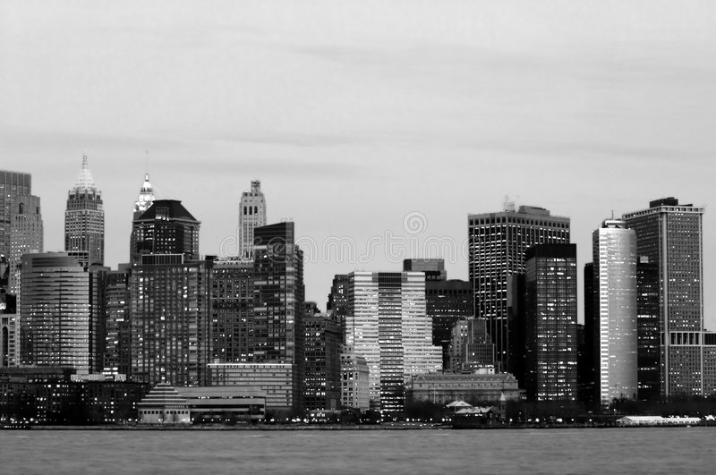 Download Manhattan downtown in blue stock image. Image of black - 4703255