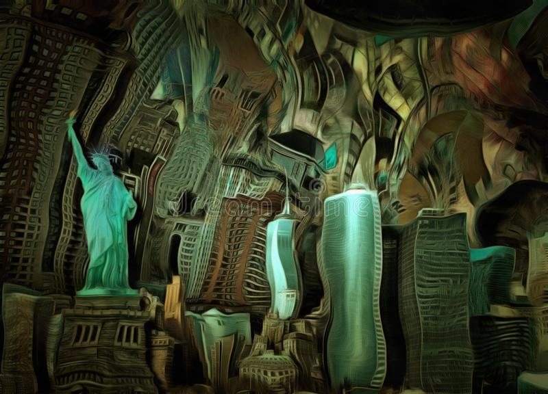 Manhattan. Downtown. Salvador Dali style vector illustration