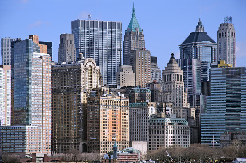 Download Manhattan downtown skyline stock photo. Image of river - 31427438