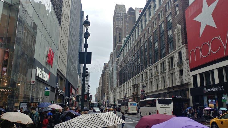 Manhattan dowtown na deszczowym dniu zdjęcie stock