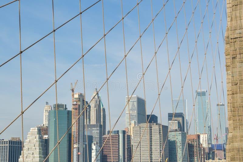 Manhattan drapacz chmur za mostem brooklyńskim zdjęcie stock