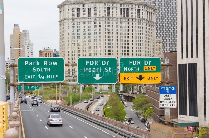Manhattan entrance stock images