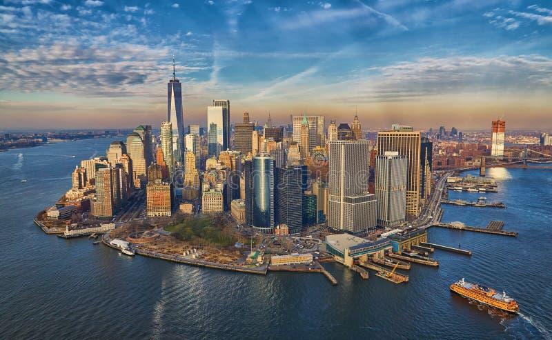 Manhattan-Finanzbezirks-Wolkenkratzerskyline stockfoto