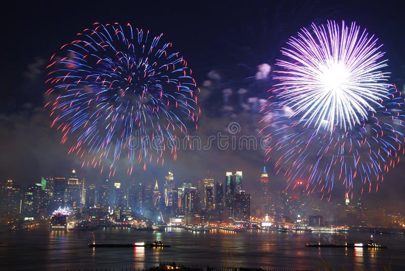 Manhattan fireworks show royalty free stock photography