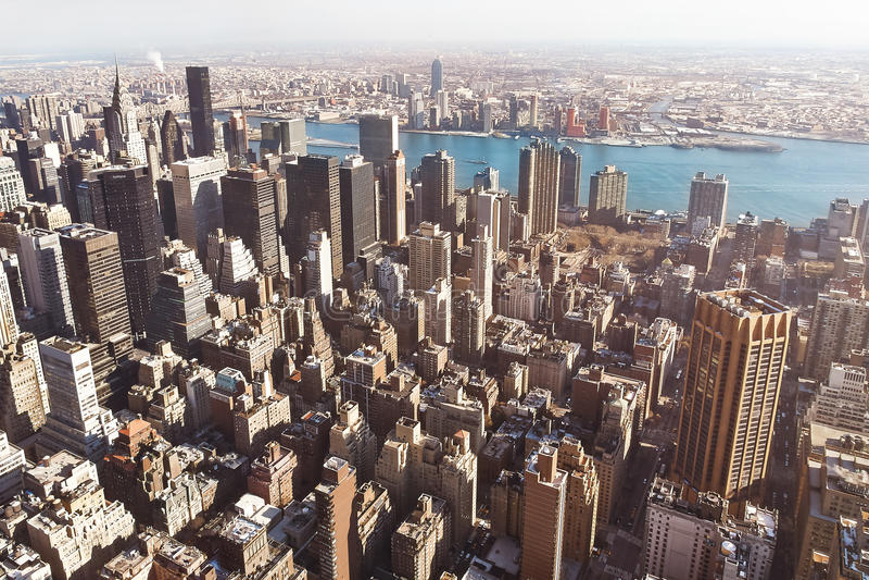 Manhattan-Gebäude von der Luft lizenzfreie stockbilder
