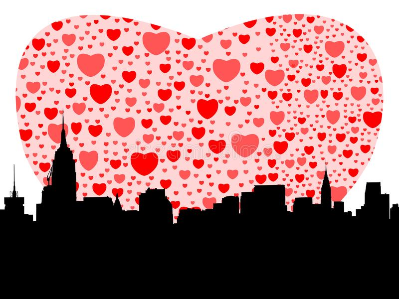 Download Manhattan with hearts stock vector. Illustration of silhouette - 4031974