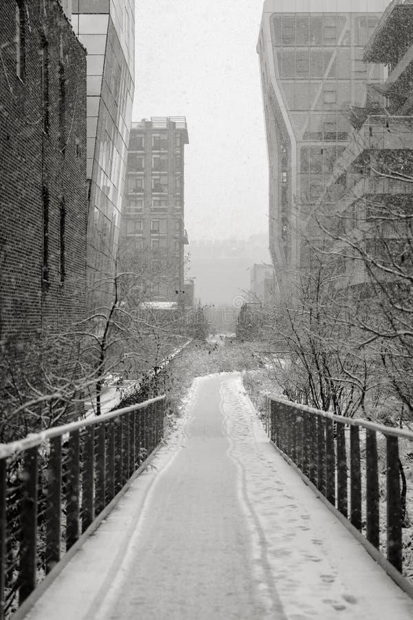 Manhattan Highline in de winter, NYC royalty-vrije stock afbeeldingen