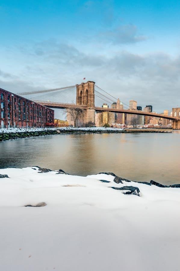 Manhattan horisont från Pebble Beach i Brooklyn, Förenta staterna arkivbild
