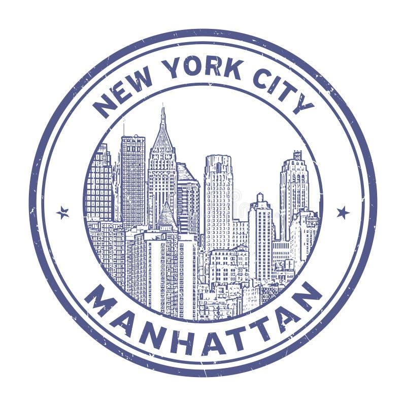 Manhattan horisontstämpel stock illustrationer