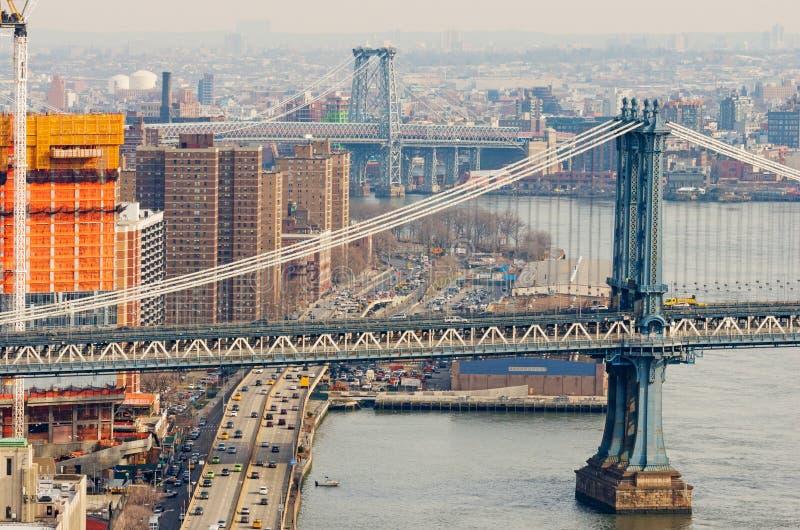 Manhattan i Williamsburg mosty w Nowy Jork, usa obrazy royalty free