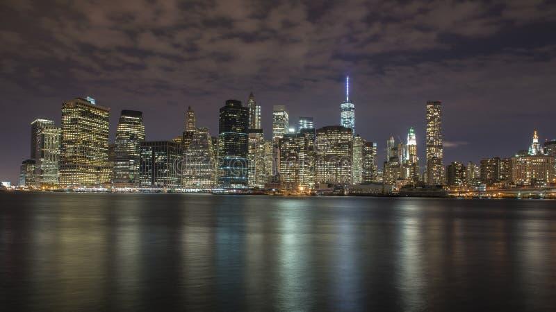 Manhattan Island at night stock image
