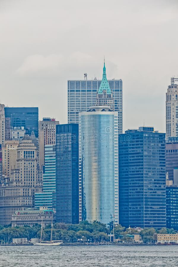 Manhattan Island panorama from the Staten Island Ferry, New York stock image
