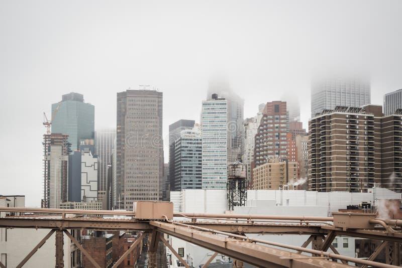 Manhattan linia horyzontu od lukullusowego mostu brooklyńskiego zdjęcia royalty free