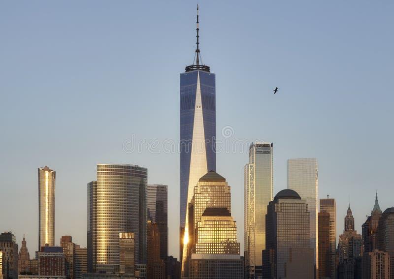 Manhattan linia horyzontu przy zmierzchem, Nowy Jork obrazy stock