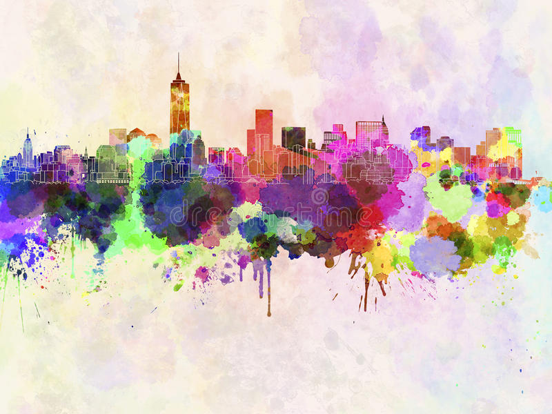 Manhattan linia horyzontu w akwareli ilustracja wektor