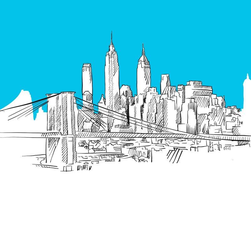 Manhattan med den Brooklyn bron, blå serie vektor illustrationer