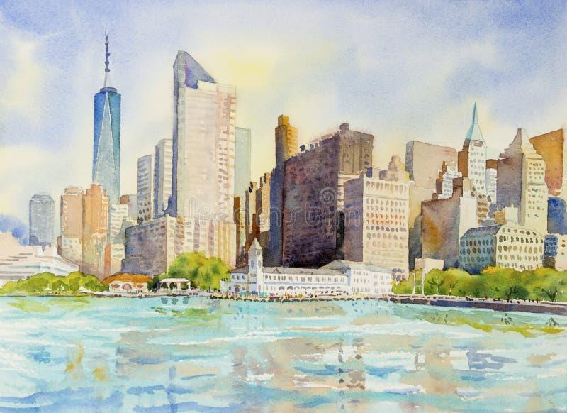Manhattan miastowi drapacze chmur w Miasto Nowy Jork ilustracji