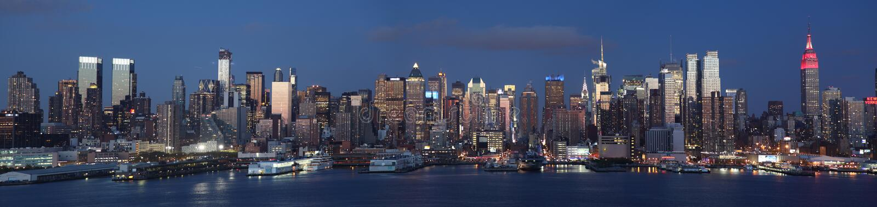Manhattan midtown night view. Manhattan Midtown Panoramic view from New Jersey Union City stock image