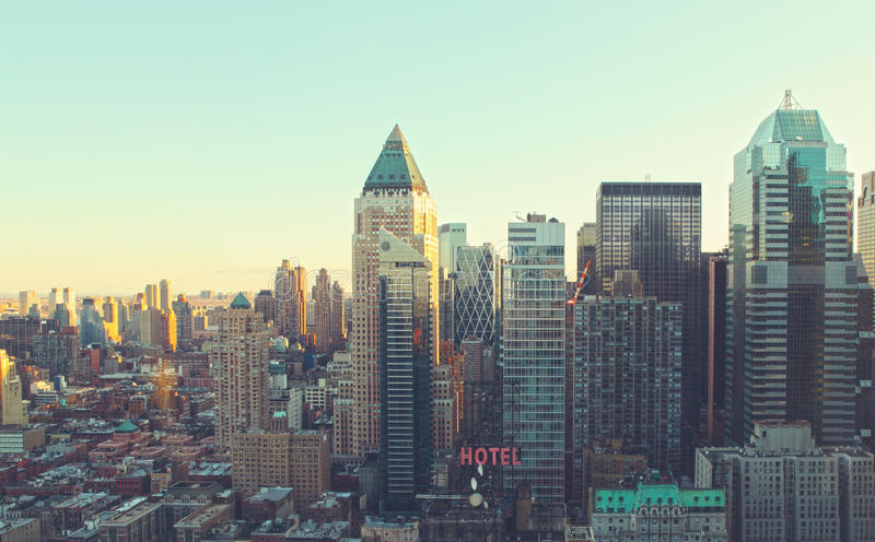 Manhattan morning sunrise city skyline. Manhattan city morning sunrise skyline. New York city stock photography