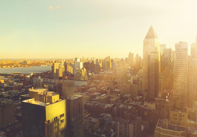 Manhattan morning sunrise skyline. Manhattan city morning sunrise skyline royalty free stock image