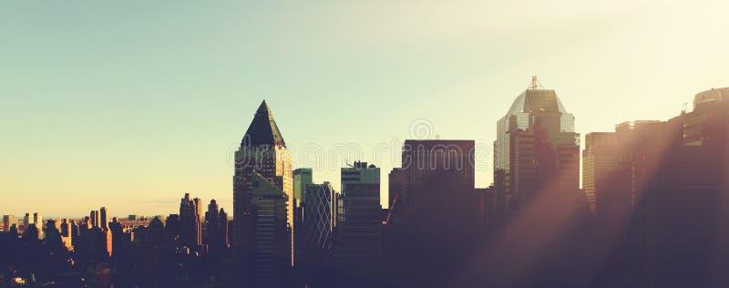 Manhattan morning sunrise skyline. Manhattan city morning sunrise skyline. New York city stock images