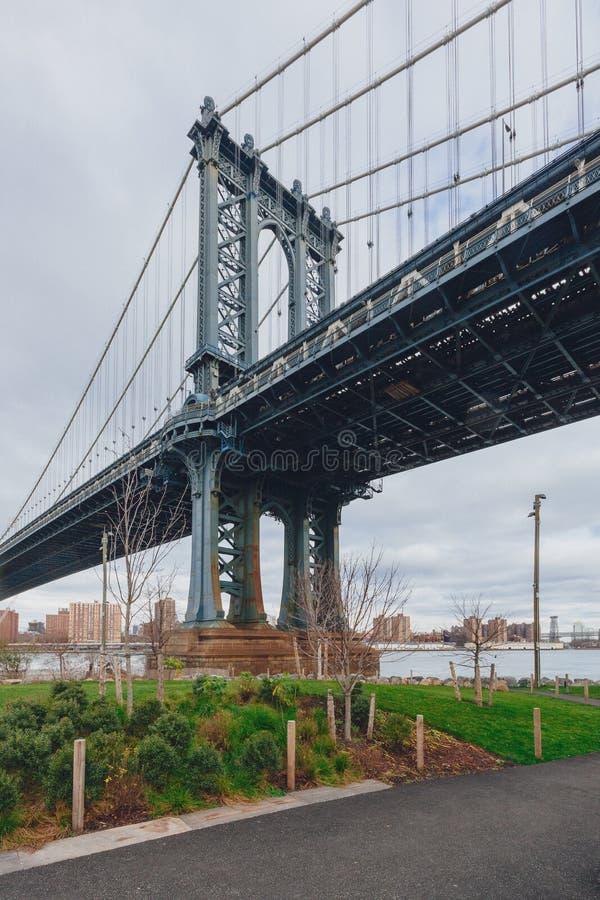 Manhattan most nad Wschodnią rzeką przeglądać od Brooklyn, z linia horyzontu Manhattan, w Miasto Nowy Jork, usa zdjęcia stock