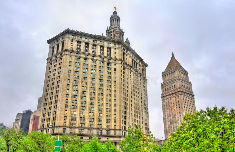 Manhattan Municipal Building and Thurgood Marshall United States Courthouse in New York City. USA stock images