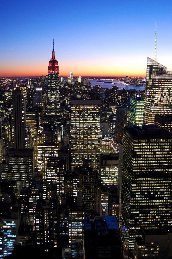 Manhattan na noite, New York fotografia de stock royalty free