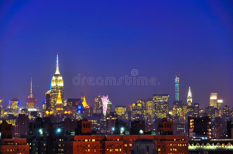 Manhattan nachts, New York City stockfoto