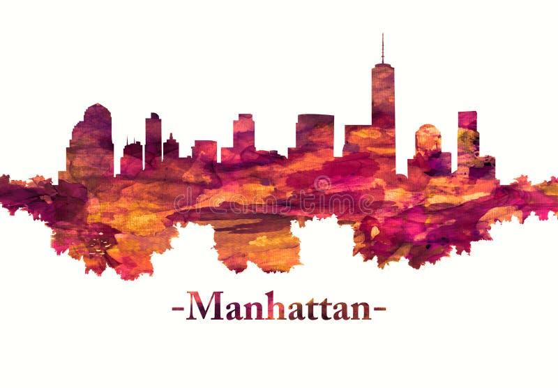 Manhattan New York City horisont i rött vektor illustrationer