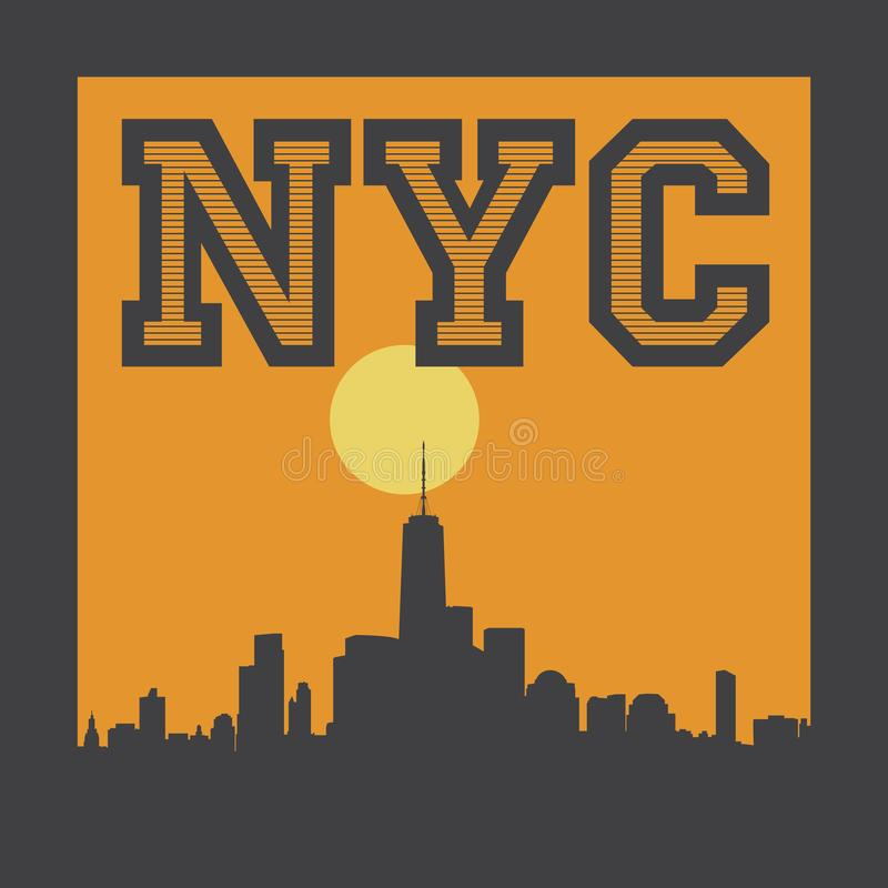 Manhattan, New York City, illustration de silhouette illustration stock