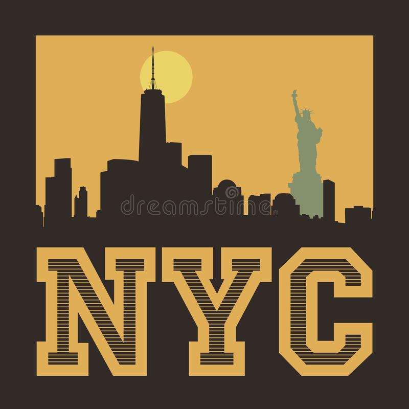 Manhattan, New York City, illustration de silhouette illustration de vecteur