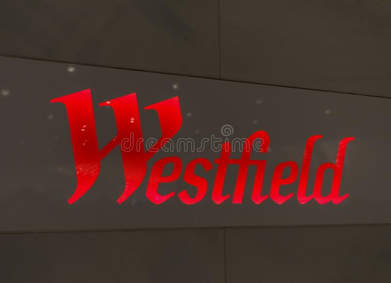 Sign of Westfield World Trade Center Mall in Lower Manhattan. Manhattan, New York City - May 10, 2018 : Sign of Westfield World Trade Center Mall in Lower royalty free stock photos