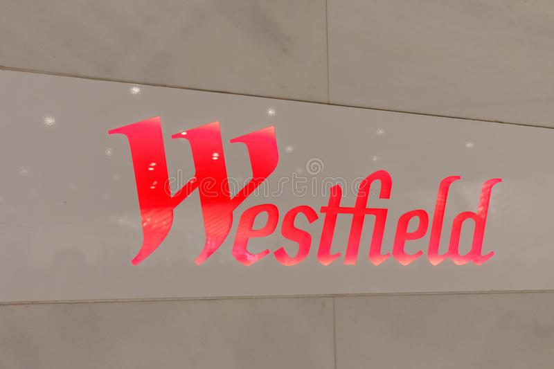 Sign of Westfield World Trade Center Mall in Lower Manhattan. Manhattan, New York City - May 10, 2018 : Sign of Westfield World Trade Center Mall in Lower royalty free stock images