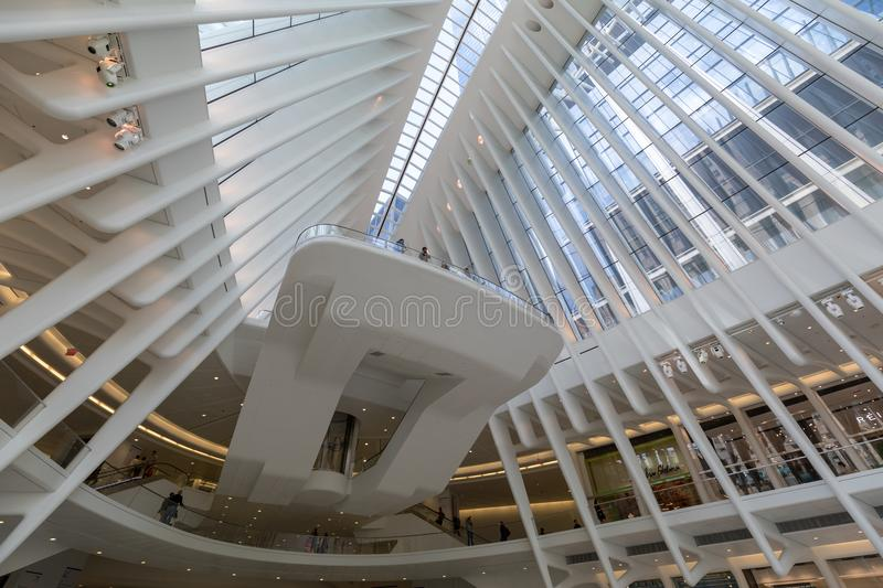 Westfield World Trade Center Mall in Lower Manhattan. Manhattan, New York City - May 10, 2018 : Westfield World Trade Center Mall in Lower Manhattan royalty free stock photos
