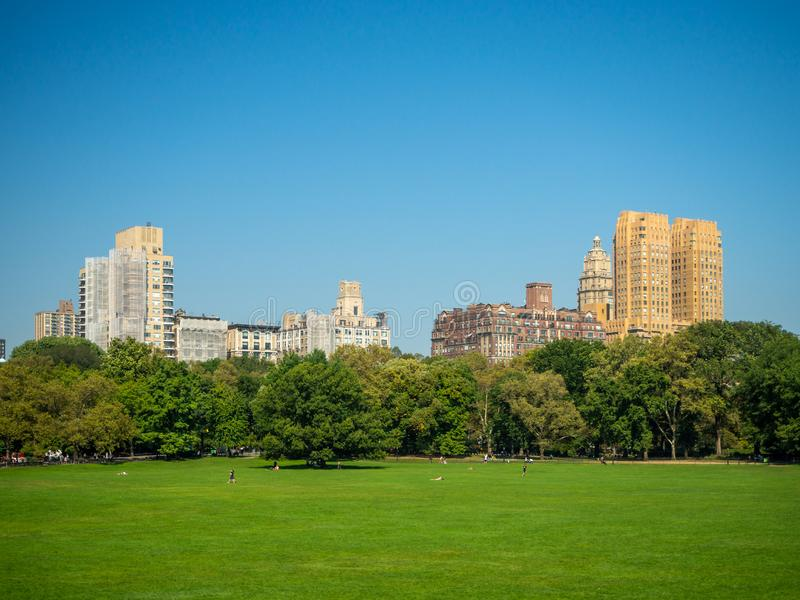 Manhattan, New York City, United States : [ Central park, midtown Manhattan, Bethesda mall fountain panorama ].  royalty free stock images
