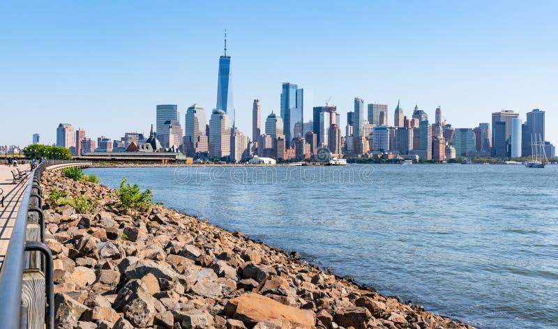 Manhattan New York horisont arkivfoton