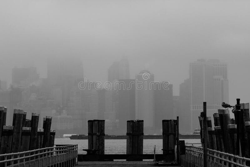 Manhattan, New York Skyline In Fog Free Public Domain Cc0 Image