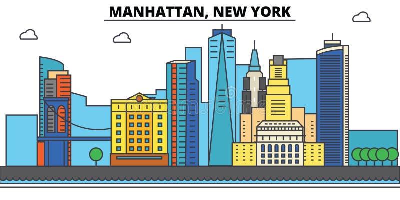 Manhattan, New York Stadshorizon, architectuur, gebouwen, straten, silhouet, landschap, panorama, oriëntatiepunten, pictogrammen stock illustratie