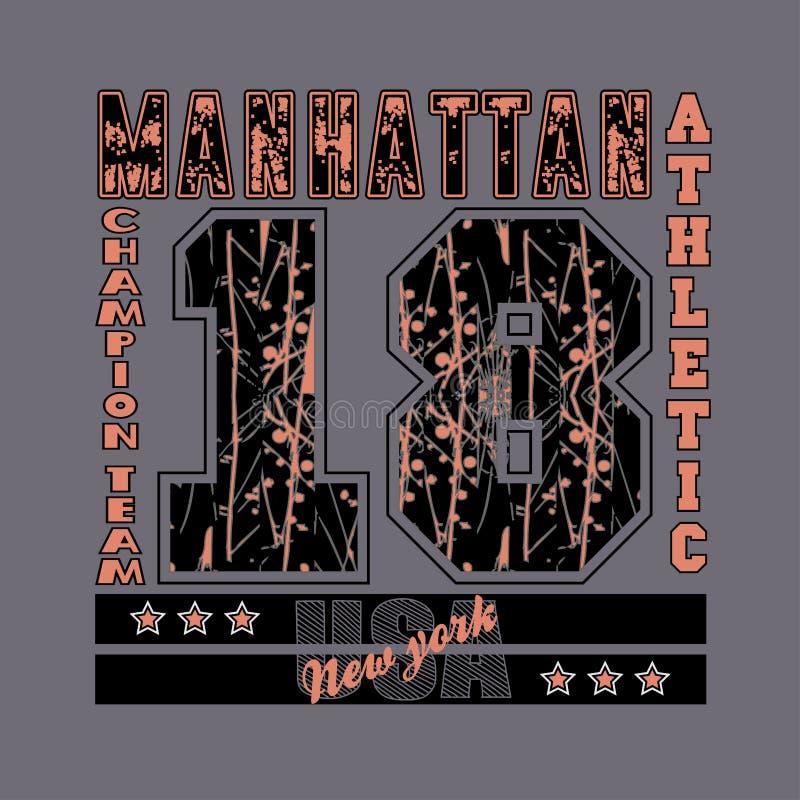 Manhattan, New York, tipografia, atlética, gráfico do projeto ilustração do vetor
