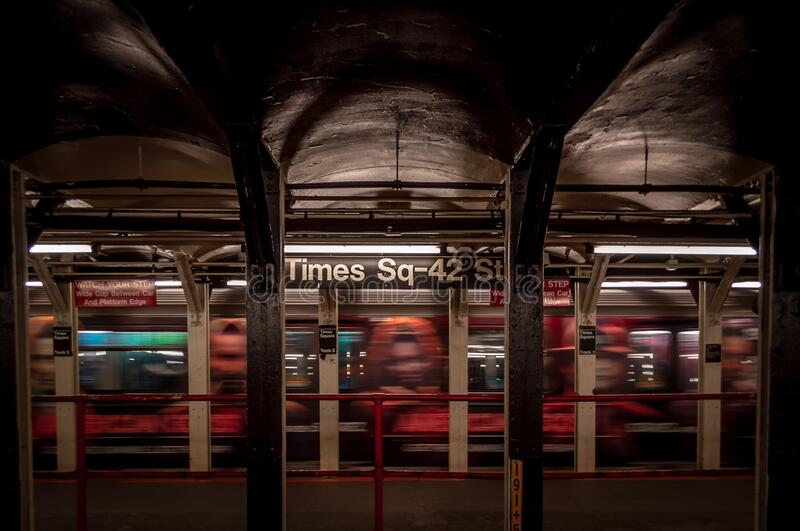 Empty Times Square 42nd Street subway station. royalty free stock photos