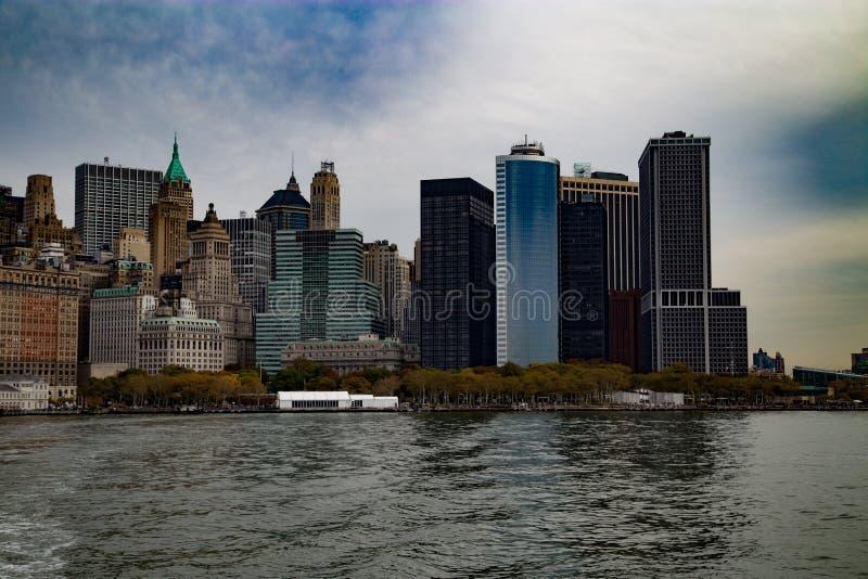 Manhattan nieba widoku Gudson w centrum widok fotografia royalty free