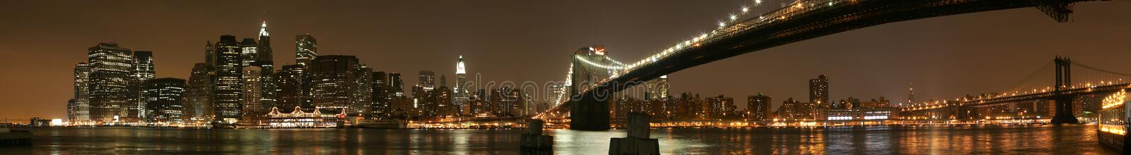 Manhattan Night Panorama stock photos